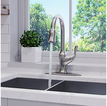 Spot Defense Stainless Steel Deming Pull-Down Kitchen Faucet - F-529-7DMGS - 4