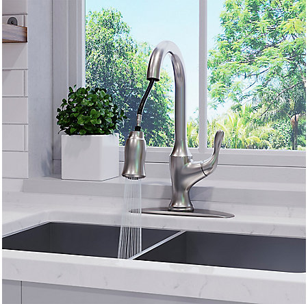 Spot Defense Stainless Steel Deming Pull-Down Kitchen Faucet - F-529-7DMGS - 5