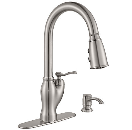 Stainless Steel Glenfield 1-Handle Pull-Down Kitchen Faucet with Soap Dispenser - F-529-7GFS - 2