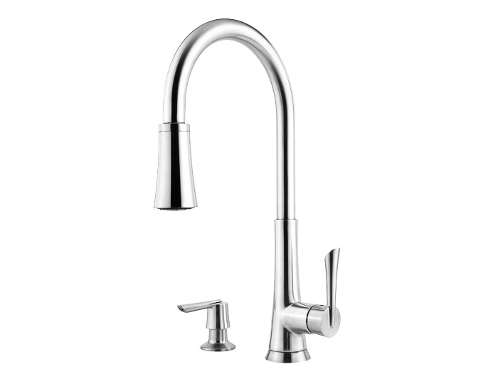 Polished Chrome Mystique 1-Handle, Pull-Down Kitchen Faucet - F-529 ...