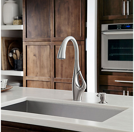 Stainless Steel Indira 1-Handle, Pull-Down Kitchen Faucet - F-529-7NDS - 3