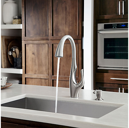 Stainless Steel Indira 1-Handle, Pull-Down Kitchen Faucet - F-529-7NDS - 6
