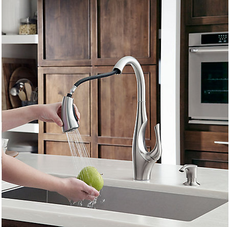 Stainless Steel Indira 1-Handle, Pull-Down Kitchen Faucet - F-529-7NDS - 4