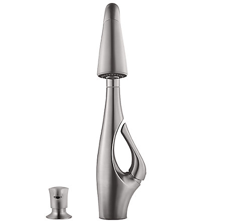 Stainless Steel Indira 1-Handle, Pull-Down Kitchen Faucet - F-529-7NDS - 2