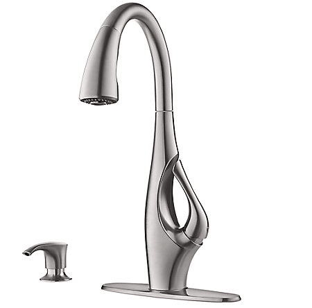 Stainless Steel Indira 1-Handle, Pull-Down Kitchen Faucet - F-529-7NDS - 1
