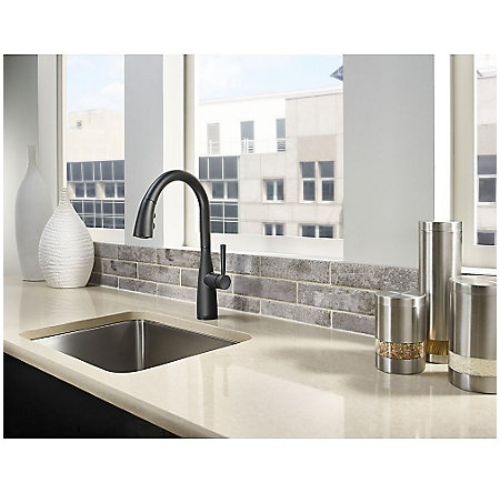 Black Raya 1-Handle Pull-Down Kitchen Faucet with Soap Dispenser - F-529-7RYB - 3