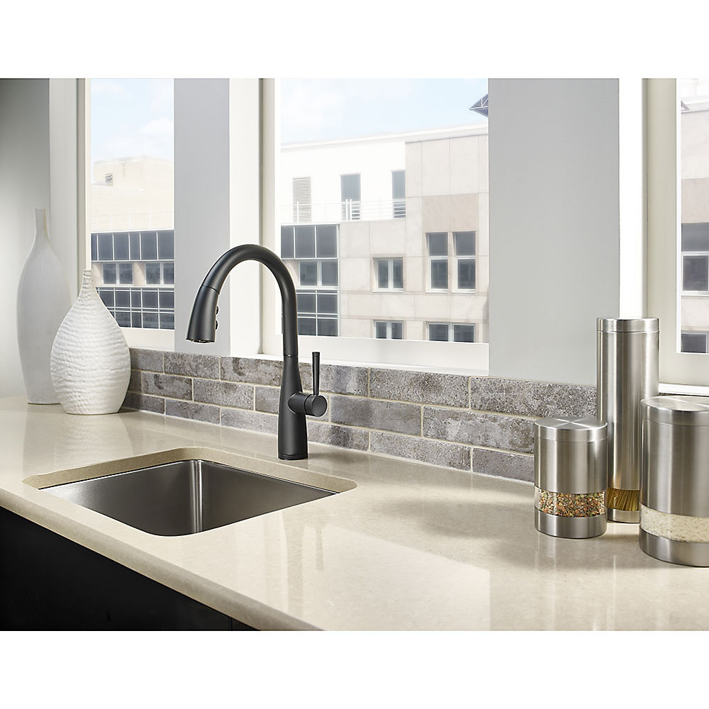 Black Raya 1 Handle Pull Down Kitchen Faucet With Soap Dispenser   F