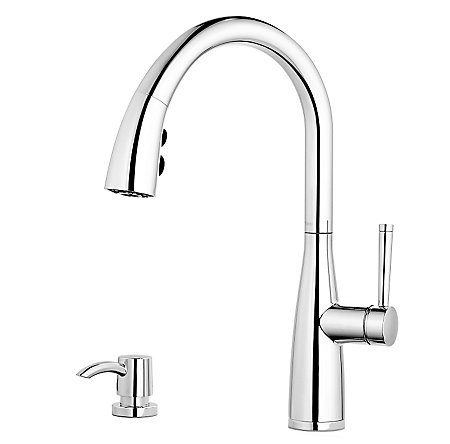 Polished Chrome Raya 1-Handle Pull-Down Kitchen Faucet with Soap Dispenser - F-529-7RYC - 1