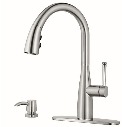 Stainless Steel Raya 1-Handle Pull-Down Kitchen Faucet with Soap Dispenser - F-529-7RYS - 2