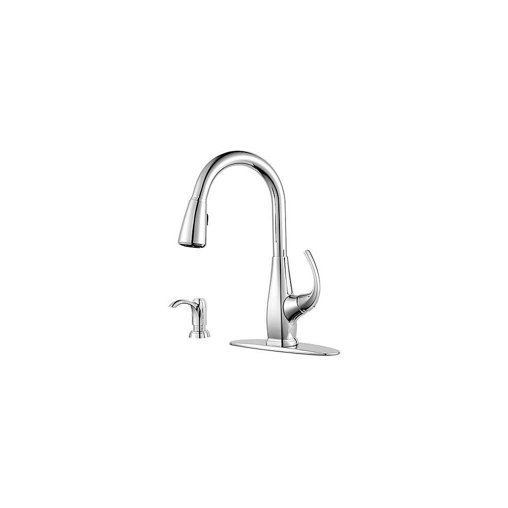 Polished Chrome Selia 1-Handle, Pull-Down Kitchen Faucet - F-529 ...