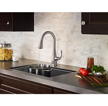 pfister selia kitchen faucet stainless steel selia 1 handle pull kitchen faucet 21254