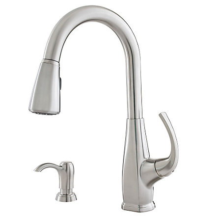 Stainless Steel Selia 1-Handle, Pull-Down Kitchen Faucet - F-529-7SLS - 1