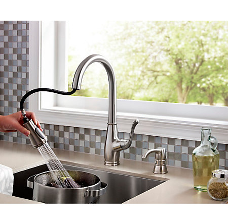 Stainless Steel Sedgwick 1-Handle, Pull-Down Kitchen Faucet - F-529-7SWS - 3