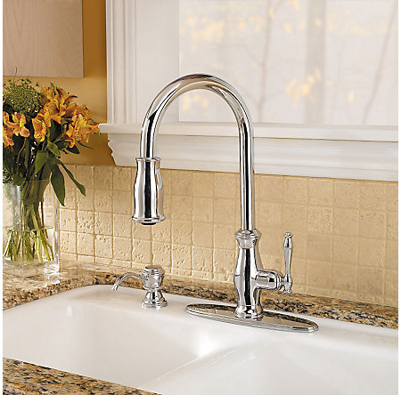 Polished Chrome Hanover 1, 2, 3 or 4-Hole Pull-down Kitchen Faucet - F-529-7TMC - 5
