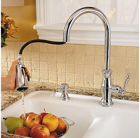Polished Chrome Hanover 1, 2, 3 or 4-Hole Pull-down Kitchen Faucet - F-529-7TMC - 7
