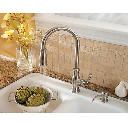 Stainless Steel Hanover 1-Handle, Pull-Down Kitchen Faucet - LF-529-7TMS - 5
