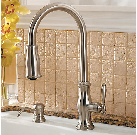 Stainless Steel Hanover 1-Handle, Pull-Down Kitchen Faucet - LF-529-7TMS - 10
