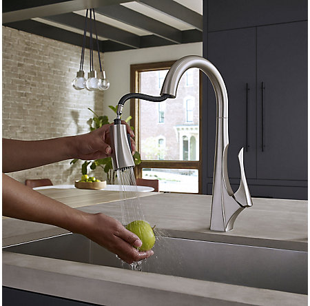 Spot Defense Stainless Steel Venturi 1-Handle, Pull-Down Kitchen Faucet - F-529-7VNGS - 8