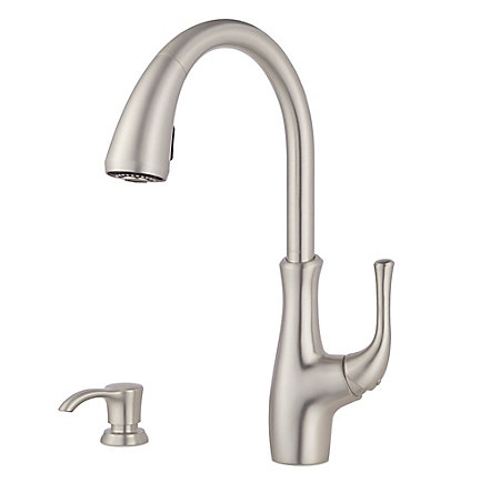 Spot Defense Stainless Steel Vosa 1-Handle Pull Down Kitchen Faucet with Soap Dispenser - F-529-7VVGS - 1