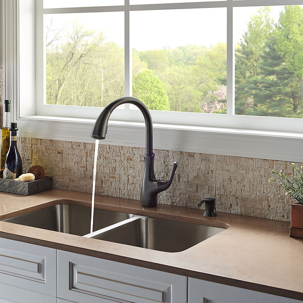 Tuscan Bronze Vosa 1-Handle Pull-Down Kitchen Faucet With Soap ...