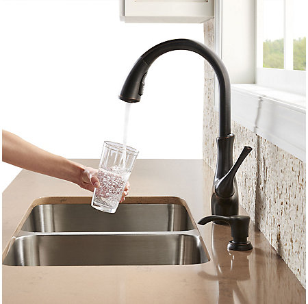 Tuscan Bronze Vosa 1-Handle Pull-Down Kitchen Faucet with Soap Dispenser - F-529-7VVY - 6