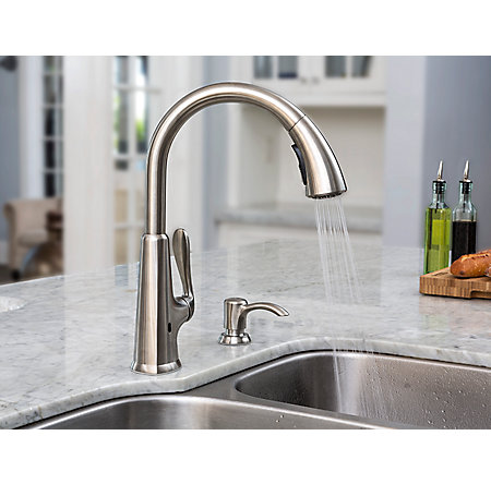Stainless Steel Pasadena Touch-Free Pull-Down Kitchen Faucet with React™ - F-529-EPDS - 5