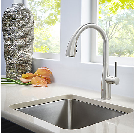 Spot Defense Stainless Steel Raya 1-Handle Electronic Pull-Down Kitchen Faucet with React Technology - F-529-ERYGS - 7