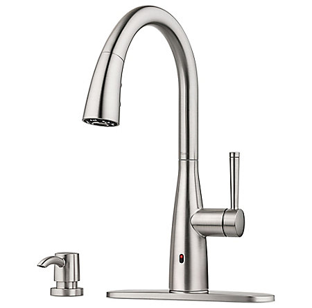 Spot Defense Stainless Steel Raya 1-Handle Electronic Pull-Down Kitchen Faucet with React Technology - F-529-ERYGS - 4