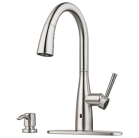 Spot Defense Stainless Steel Raya 1-Handle Electronic Pull-Down Kitchen Faucet with React Technology - F-529-ERYGS - 6