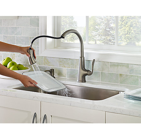 com faucet lowes stainless down pull deck product water mount faucets arctic for dispensers handle kitchen shop at display pl reviews allora slate