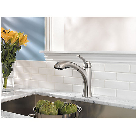 Stainless Steel Clairmont 1-Handle, Pull-Out Kitchen Faucet - LF-534-7CMS - 3