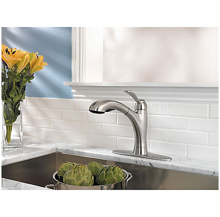 Stainless Steel Clairmont 1-Handle, Pull-Out Kitchen Faucet - LF-534-7CMS - 7