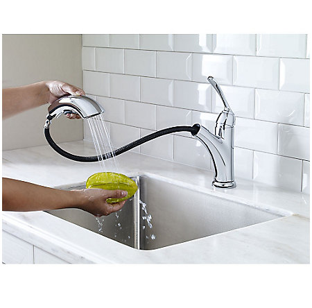 Polished Chrome Cantara 1-Handle, Pull-Out Kitchen Faucet - F-534-7CRC - 5