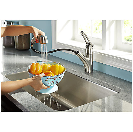 Stainless Steel Prive 1-Handle, Pull-Out Kitchen Faucet - F-534-7PVS - 7
