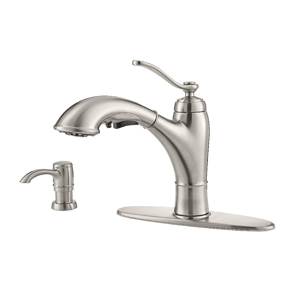 Stainless Steel Glenfield 1-Handle, Pull-Out Kitchen Faucet - F-534