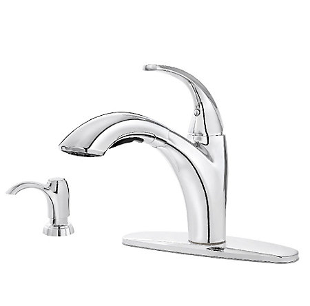 pfister selia kitchen faucet polished chrome selia 1 handle pull out kitchen faucet 21254