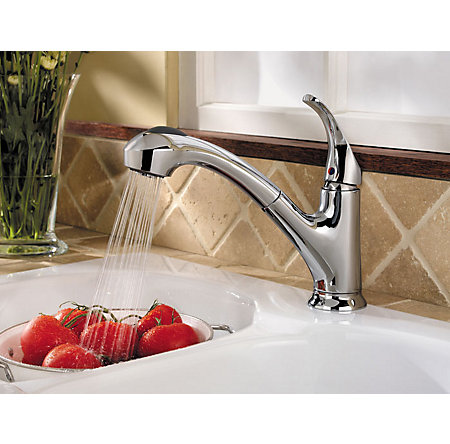 Polished Chrome Shelton 1-Handle, Pull-Out Kitchen Faucet - F-WKP-701C - 3