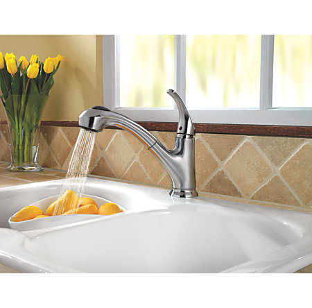 Stainless Steel Shelton 1-Handle, Pull-Out Kitchen Faucet - F-WKP-700S - 4