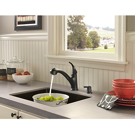 Black Shelton 1-Handle, Pull-Out Kitchen Faucet with Soap Dispenser - F-WKP-701B - 3