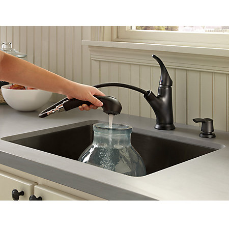 Black Shelton 1-Handle, Pull-Out Kitchen Faucet with Soap Dispenser - F-WKP-701B - 4