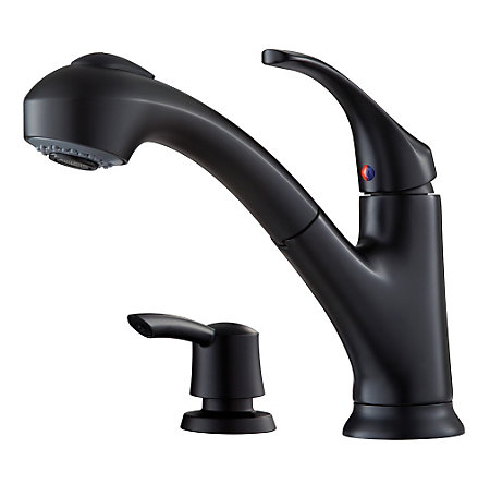 Black Shelton 1-Handle, Pull-Out Kitchen Faucet with Soap Dispenser - F-WKP-701B - 1