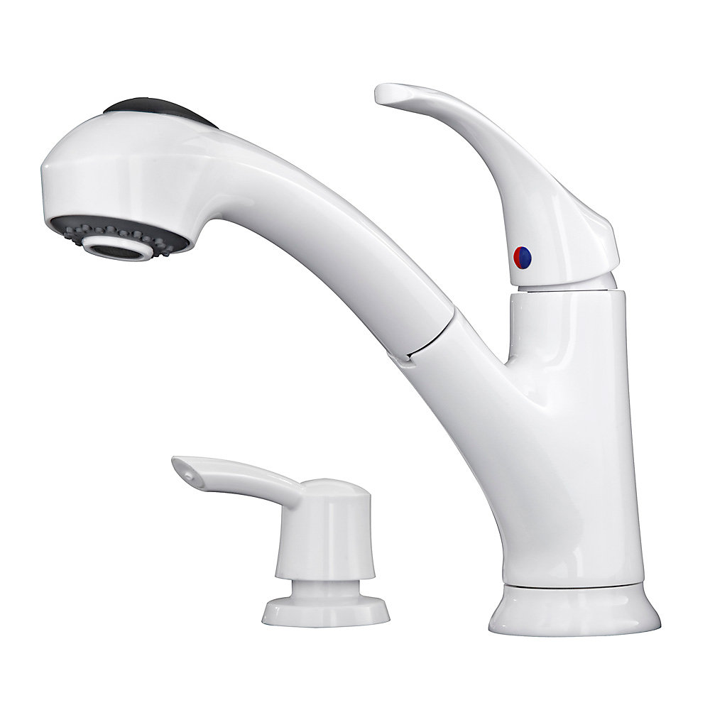 Etonnant White Shelton 1 Handle, Pull Out Kitchen Faucet With Soap Dispenser   F