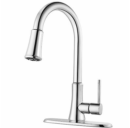 Polished Chrome Pfirst Series Pull-Down Kitchen Faucet - G529-PF1C - 2
