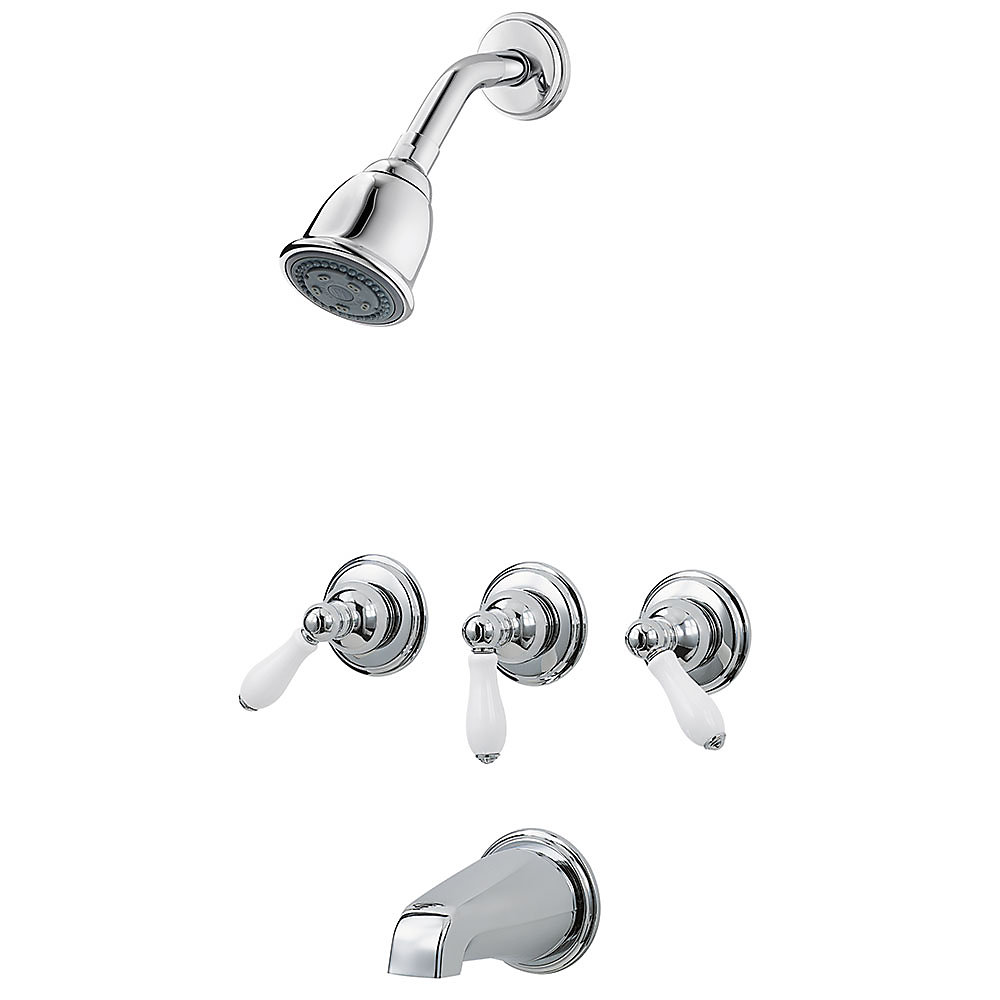 Polished Chrome / White Porcelain Pfister 3-Handle Tub & Shower ...
