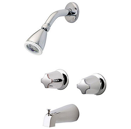 Polished Chrome Pfister 2 Handle Tub   Shower Faucet with Acrylic Knob  Handles   G03Polished Chrome Pfister 2 Handle Tub   Shower Faucet With Acrylic  . 2 Knob Shower Faucet. Home Design Ideas