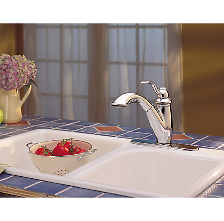 Polished Chrome Marielle 1-Handle, Pull-Out Kitchen Faucet - LG532-7CC - 9