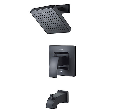 Black Kenzo 1-Handle Tub & Shower, Trim Only - G89-8DFB - 1