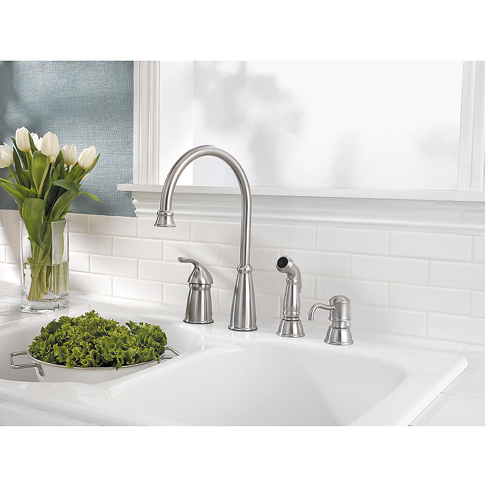 Stainless Steel Avalon 1 Handle Kitchen Faucet Gt26 4cbs 2