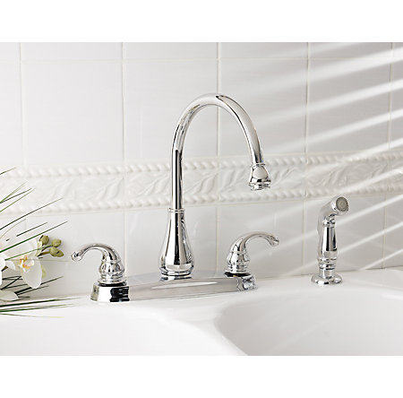 Polished Chrome Treviso 2-Handle Kitchen Faucet - GT36-4DCC - 2