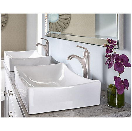 Brushed Nickel Arterra Single Handle Vessel Faucet - LG40-DE0K - 2